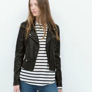 Like New Zara Fitted Soft Leather Moto Jacket
